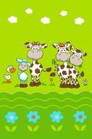 """Детский велюровый ковёр """"Коровки"""", 1х1,5 м, зеленый"""