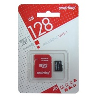 Карта памяти microSD Smartbuy 128GB + адаптер SD Class 10