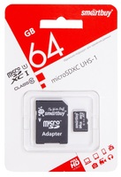 Карта памяти microSD Smartbuy 64GB + адаптер SD Class 10