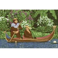 """Детский велюровый ковёр Маша и Медведь """"На лодке"""", 1х1,5 м"""