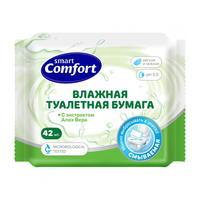 Влажная туалетная бумага Comfort smart с экстрактом Алоэ Вера, 42шт