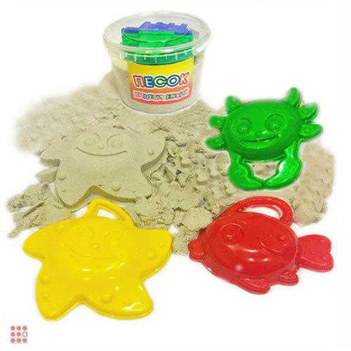 Песок кинетический 500 гр Морские обитатели + 3 формочка