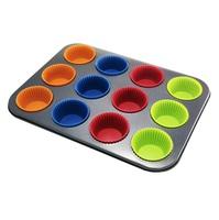 Металлическая форма для выпечки кексов с силиконовыми вставками, 12 ячеек