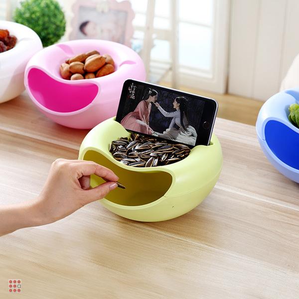 Тарелка для семечек, снеков и орехов с подставкой под телефон