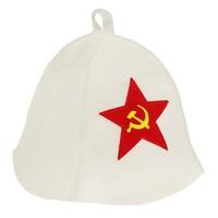 """Шапка банная с аппликацией """"Советская звезда"""""""