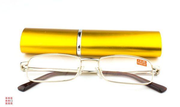 """Очки лекторы крупные """"ручка"""" в футляре (золотые)"""