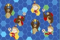 """Детский велюровый ковёр Маша и Медведь """"Футболисты"""", 1х1,5 м"""