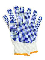 Рабочие перчатки хб с ПВХ 6 нитей белые