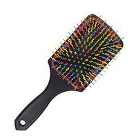 Расческа массажная с цветными зубчиками, прямоугольная