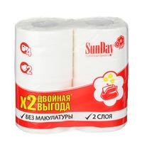 Туалетная бумага SunDay 2-х слойная белая, 4шт