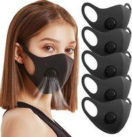 Маска для лица многоразовая с Клапаном Fashion, чёрная с ZIP пакетом
