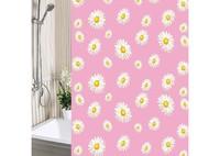 """Штора п/э для ванной комнаты """"Ромашки"""" на розовом фоне"""