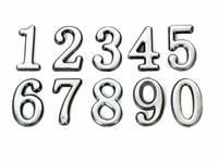 Цифры на дверь самоклеющиеся Серебро