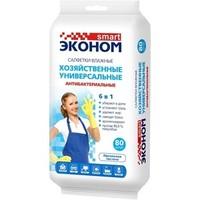 """Влажные салфетки хозяйственные антибактериальные 6 в 1 """"Эконом smart"""", 80шт"""
